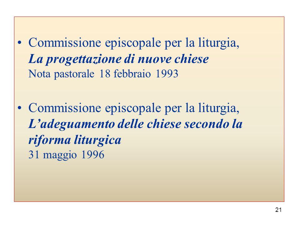 Commissione episcopale per la liturgia, La progettazione di nuove chiese Nota pastorale 18 febbraio 1993