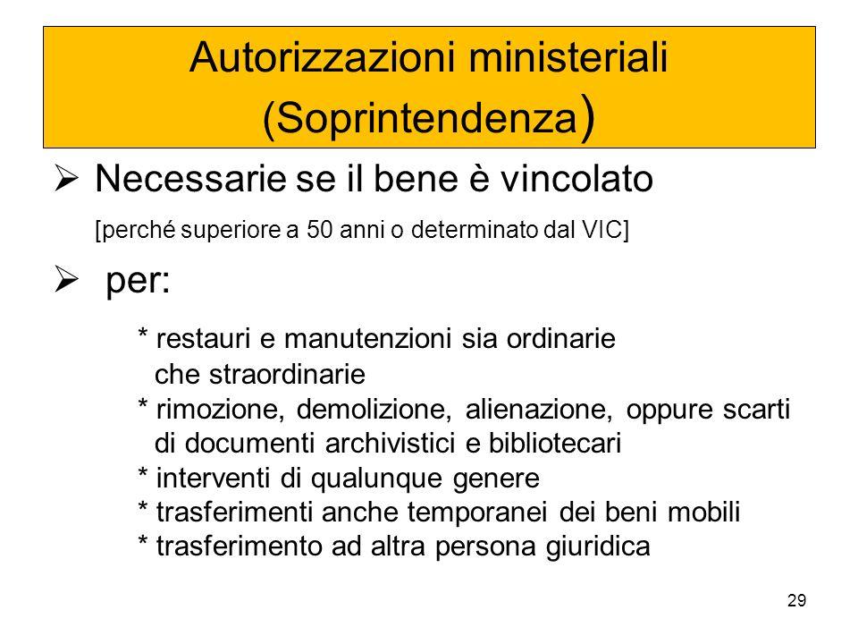 Autorizzazioni ministeriali (Soprintendenza)