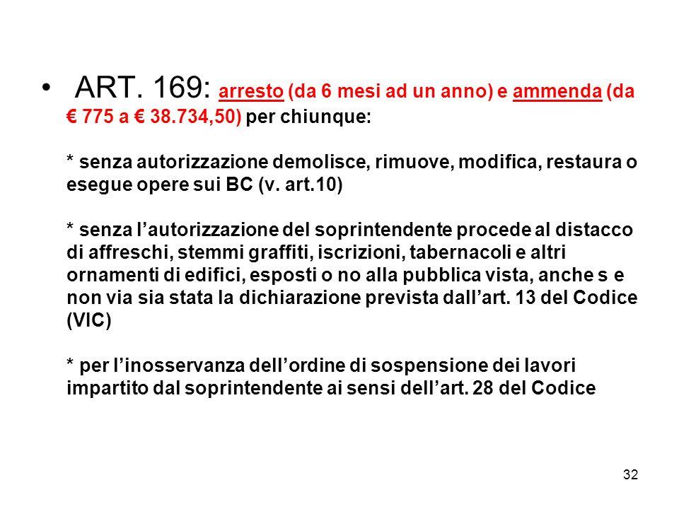 ART. 169: arresto (da 6 mesi ad un anno) e ammenda (da € 775 a € 38