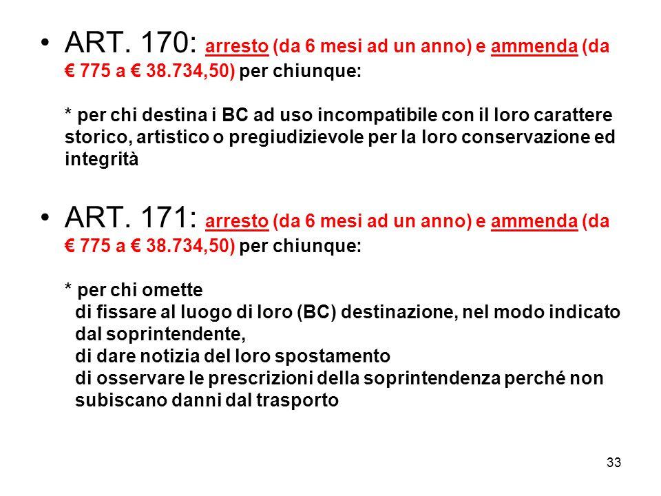 ART. 170: arresto (da 6 mesi ad un anno) e ammenda (da € 775 a € 38