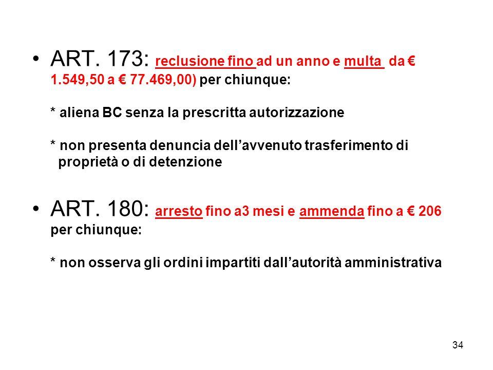 ART. 173: reclusione fino ad un anno e multa da € 1. 549,50 a € 77