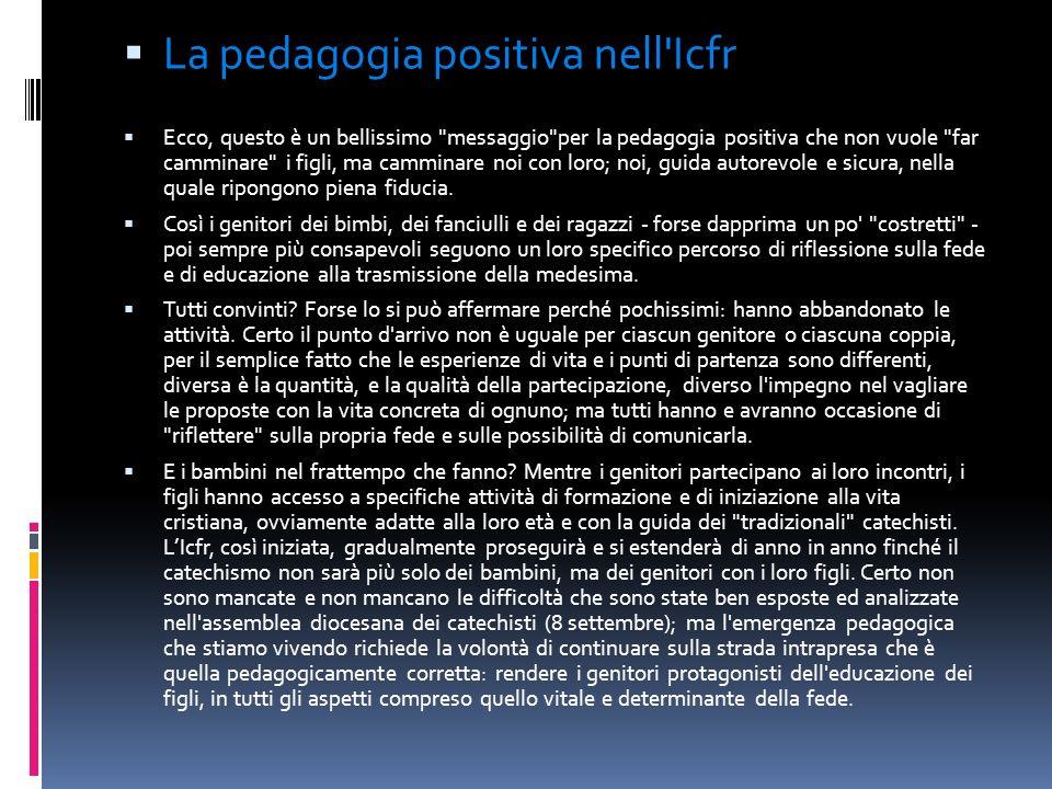 La pedagogia positiva nell Icfr