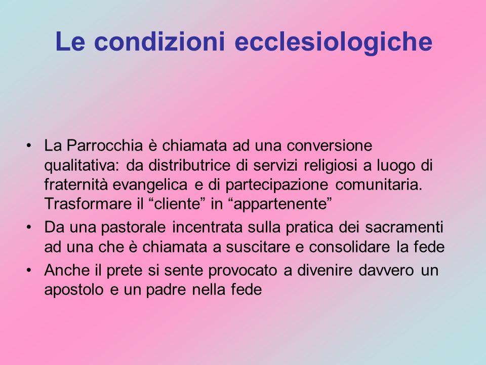 Le condizioni ecclesiologiche