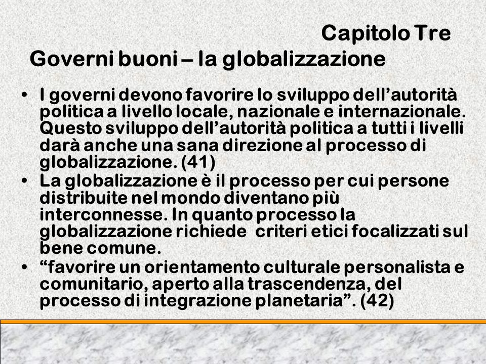 Capitolo Tre Governi buoni – la globalizzazione