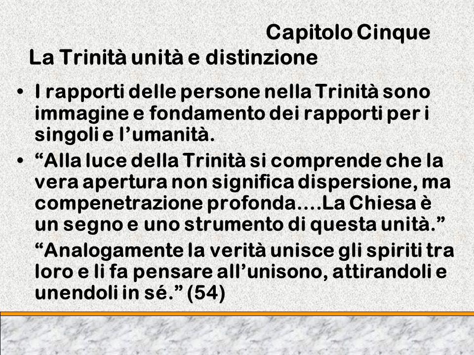 Capitolo Cinque La Trinità unità e distinzione