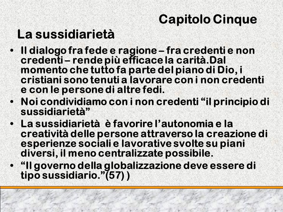 Capitolo Cinque La sussidiarietà