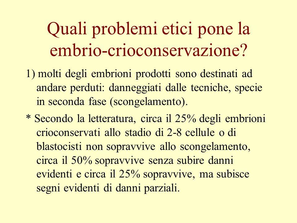 Quali problemi etici pone la embrio-crioconservazione