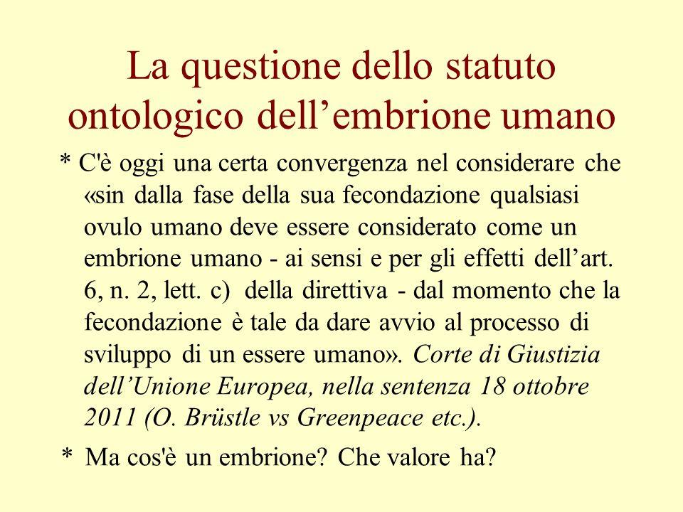La questione dello statuto ontologico dell'embrione umano