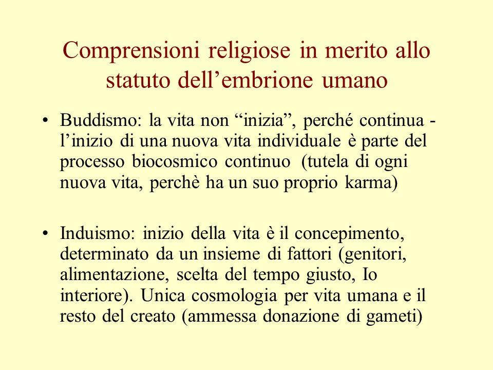 Comprensioni religiose in merito allo statuto dell'embrione umano