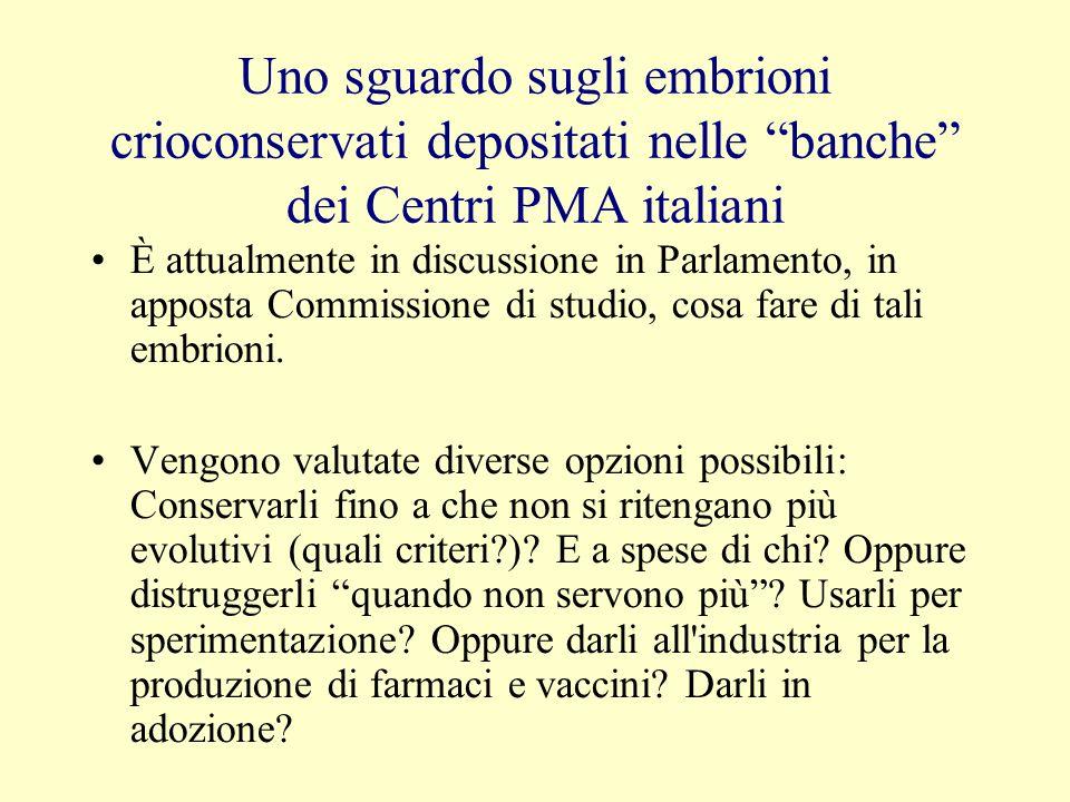Uno sguardo sugli embrioni crioconservati depositati nelle banche dei Centri PMA italiani