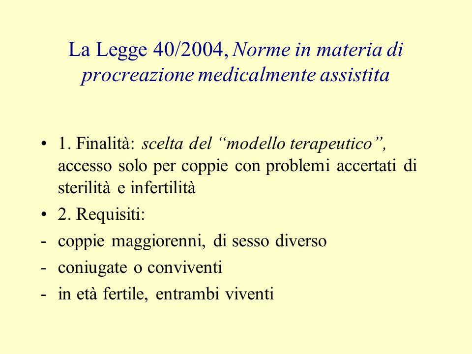 La Legge 40/2004, Norme in materia di procreazione medicalmente assistita