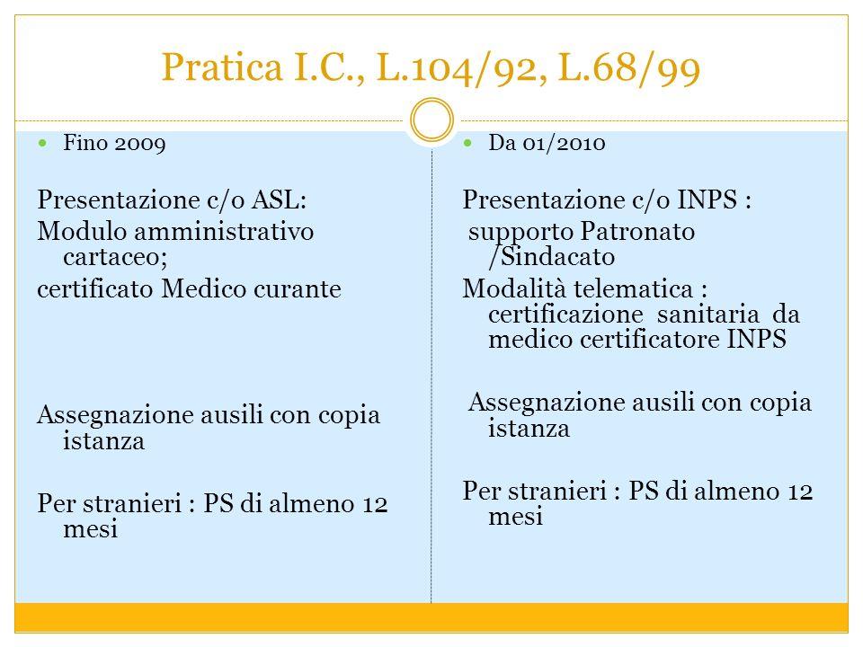 Pratica I.C., L.104/92, L.68/99 Presentazione c/o ASL: