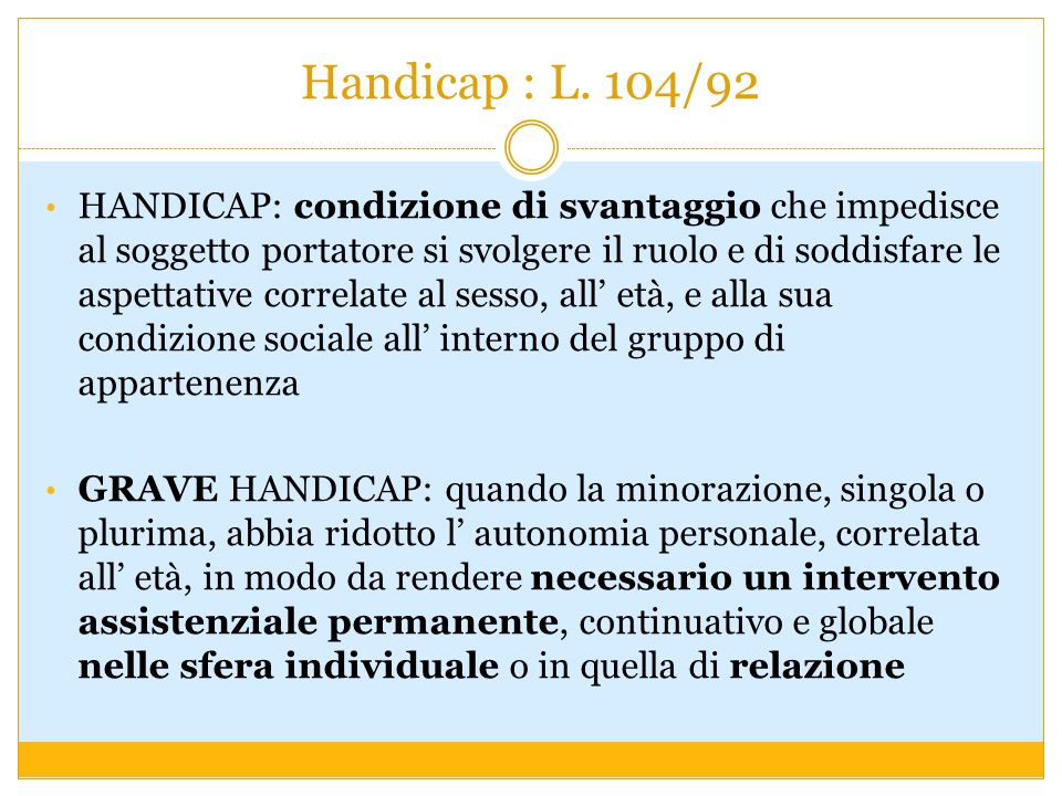 Handicap : L. 104/92