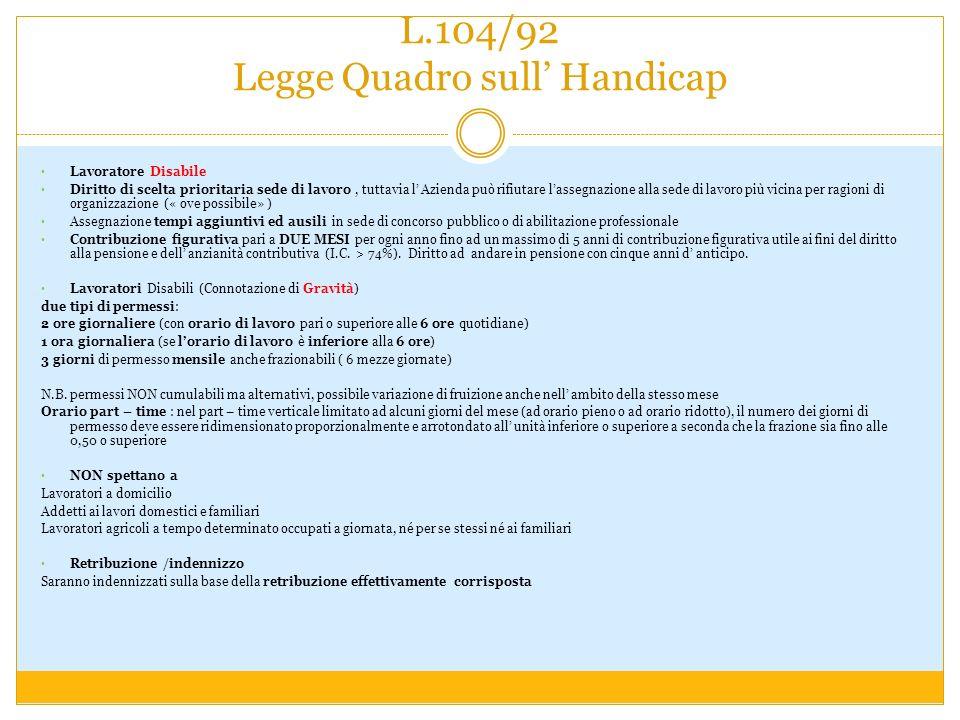 L.104/92 Legge Quadro sull' Handicap