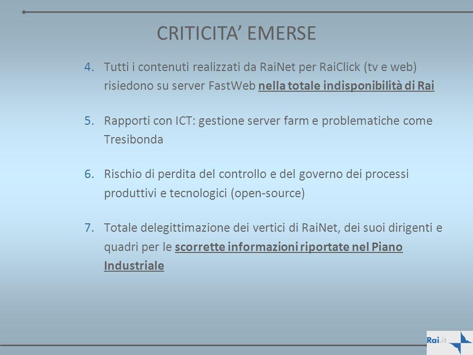CRITICITA' EMERSE Tutti i contenuti realizzati da RaiNet per RaiClick (tv e web) risiedono su server FastWeb nella totale indisponibilità di Rai.