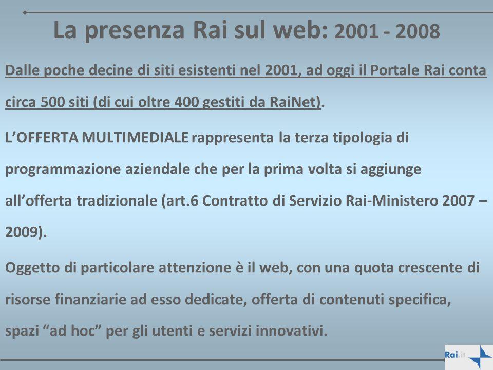 La presenza Rai sul web: 2001 - 2008