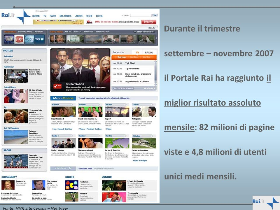 Durante il trimestre settembre – novembre 2007 il Portale Rai ha raggiunto il miglior risultato assoluto mensile: 82 milioni di pagine viste e 4,8 milioni di utenti unici medi mensili.