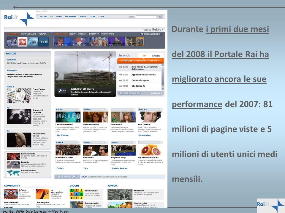 Durante i primi due mesi del 2008 il Portale Rai ha migliorato ancora le sue performance del 2007: 81 milioni di pagine viste e 5 milioni di utenti unici medi mensili.