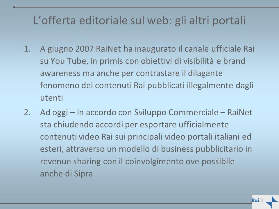 L'offerta editoriale sul web: gli altri portali
