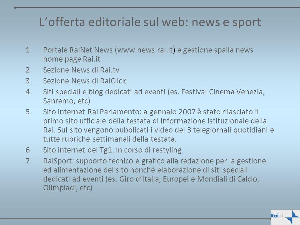 L'offerta editoriale sul web: news e sport