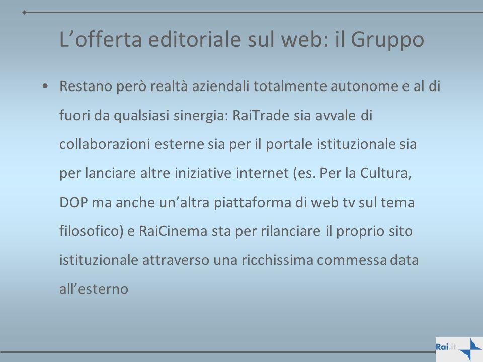 L'offerta editoriale sul web: il Gruppo