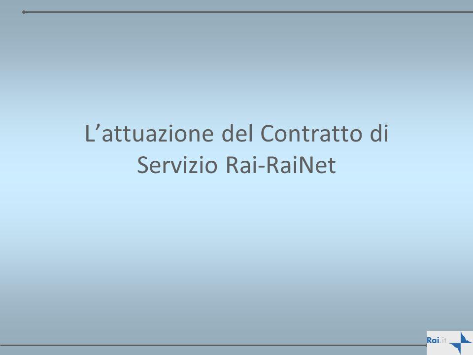 L'attuazione del Contratto di Servizio Rai-RaiNet
