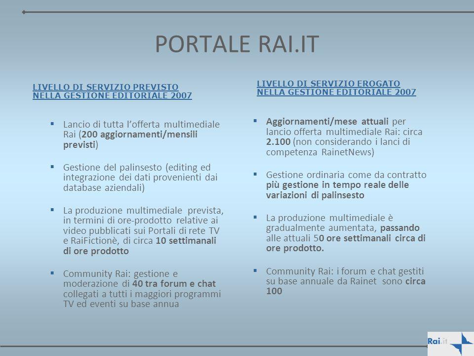 PORTALE RAI.IT LIVELLO DI SERVIZIO PREVISTO NELLA GESTIONE EDITORIALE 2007. LIVELLO DI SERVIZIO EROGATO NELLA GESTIONE EDITORIALE 2007.