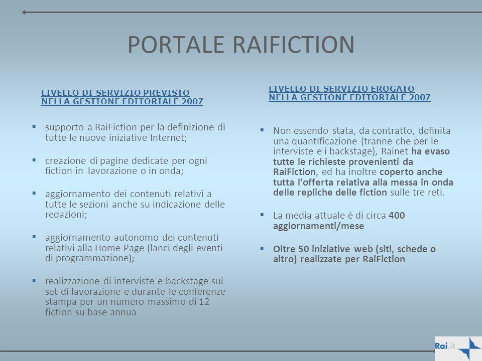 PORTALE RAIFICTION LIVELLO DI SERVIZIO PREVISTO NELLA GESTIONE EDITORIALE 2007. LIVELLO DI SERVIZIO EROGATO NELLA GESTIONE EDITORIALE 2007.