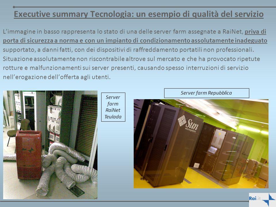Executive summary Tecnologia: un esempio di qualità del servizio