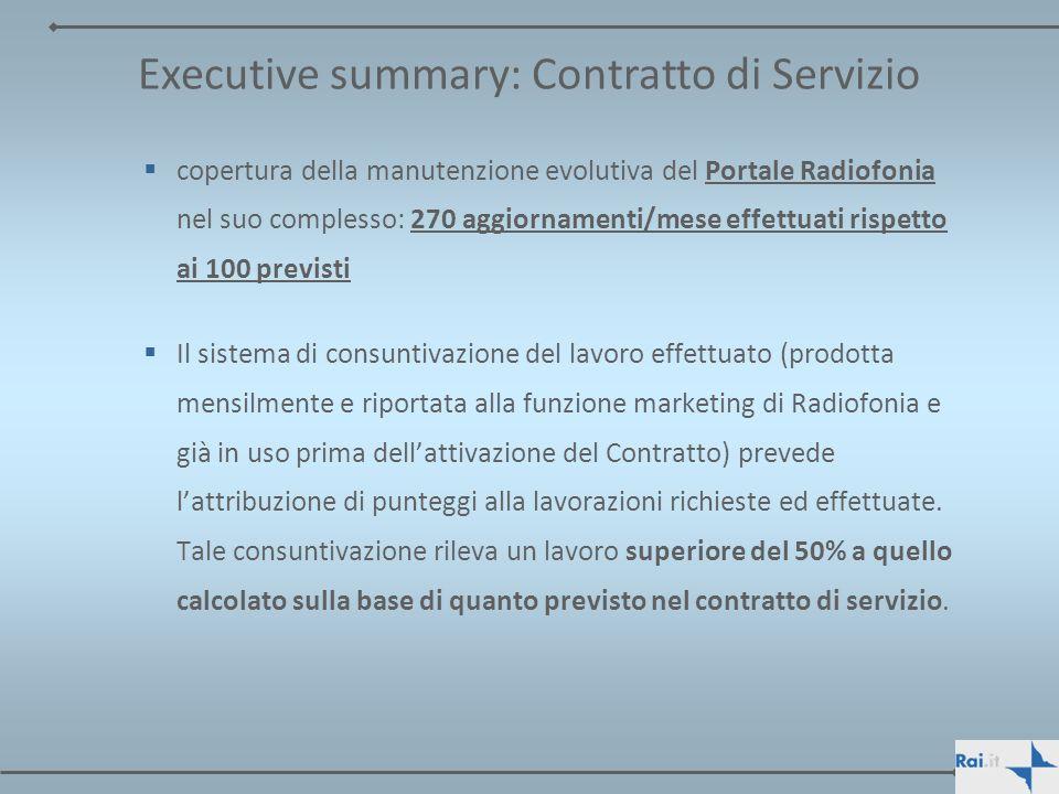 Executive summary: Contratto di Servizio