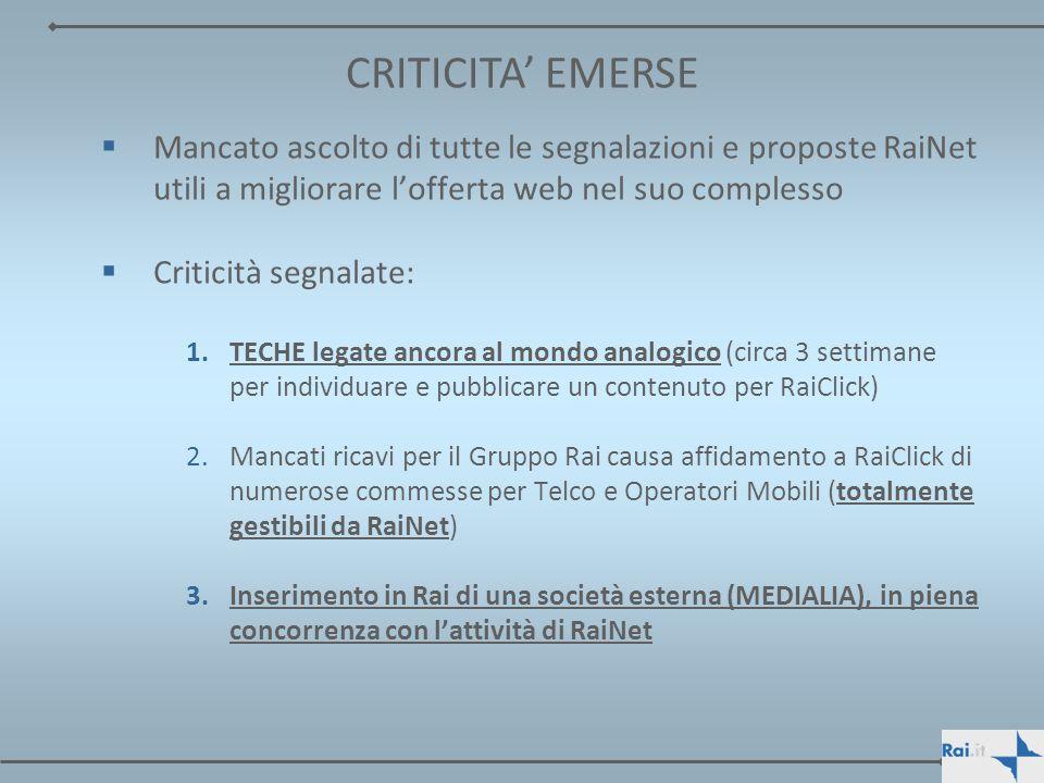 CRITICITA' EMERSEMancato ascolto di tutte le segnalazioni e proposte RaiNet utili a migliorare l'offerta web nel suo complesso.