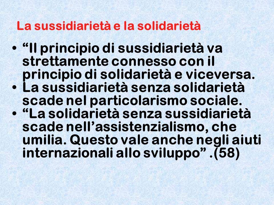 La sussidiarietà e la solidarietà