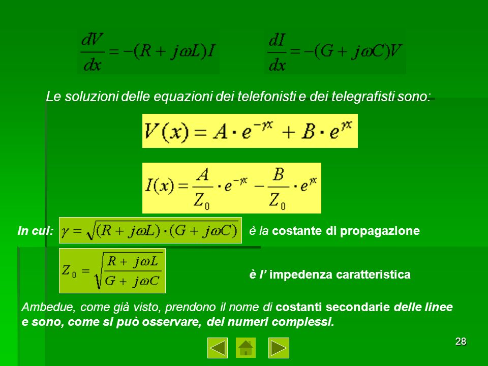 Le soluzioni delle equazioni dei telefonisti e dei telegrafisti sono: