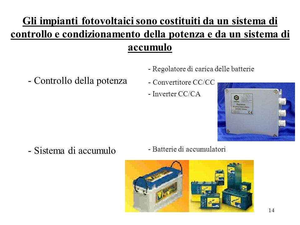 Gli impianti fotovoltaici sono costituiti da un sistema di controllo e condizionamento della potenza e da un sistema di accumulo