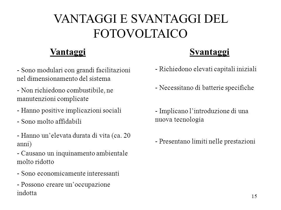 VANTAGGI E SVANTAGGI DEL FOTOVOLTAICO