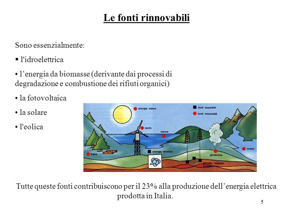 Le fonti rinnovabili Sono essenzialmente: l idroelettrica
