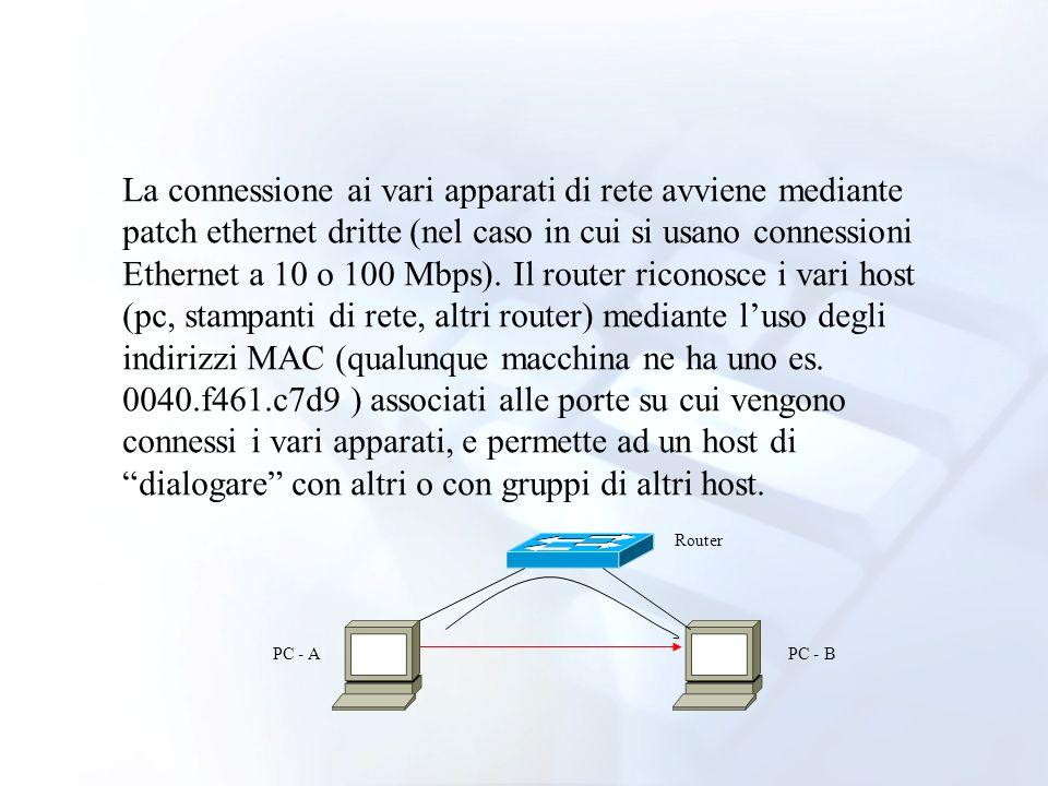 La connessione ai vari apparati di rete avviene mediante patch ethernet dritte (nel caso in cui si usano connessioni Ethernet a 10 o 100 Mbps). Il router riconosce i vari host (pc, stampanti di rete, altri router) mediante l'uso degli indirizzi MAC (qualunque macchina ne ha uno es. 0040.f461.c7d9 ) associati alle porte su cui vengono connessi i vari apparati, e permette ad un host di dialogare con altri o con gruppi di altri host.