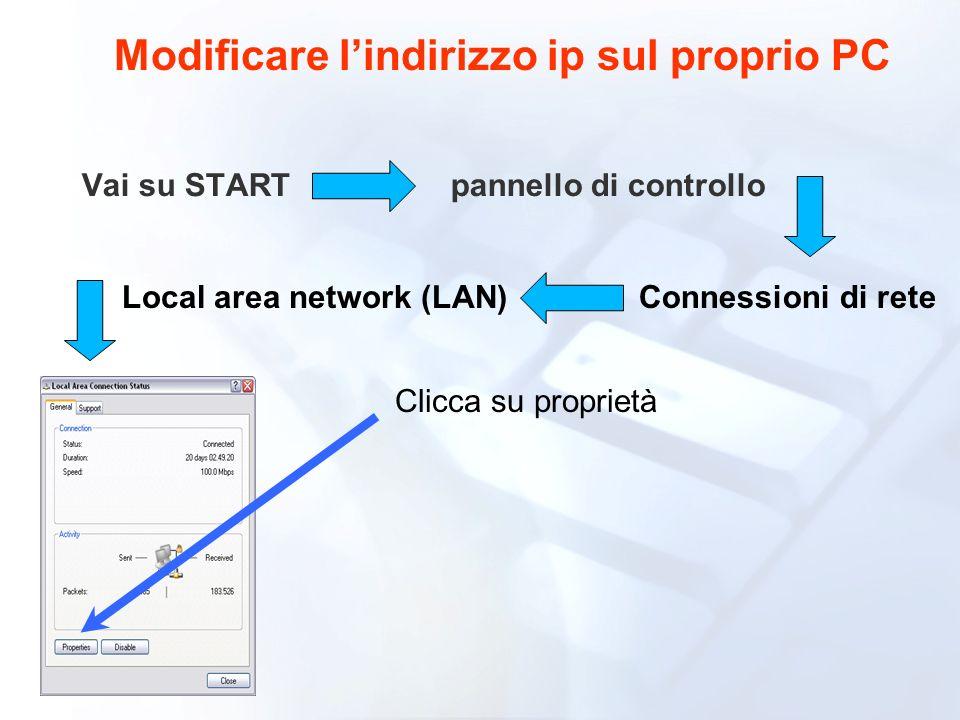 Modificare l'indirizzo ip sul proprio PC Local area network (LAN)