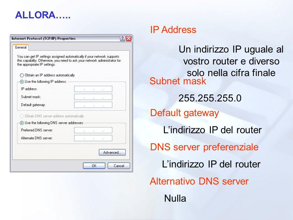 L'indirizzo IP del router