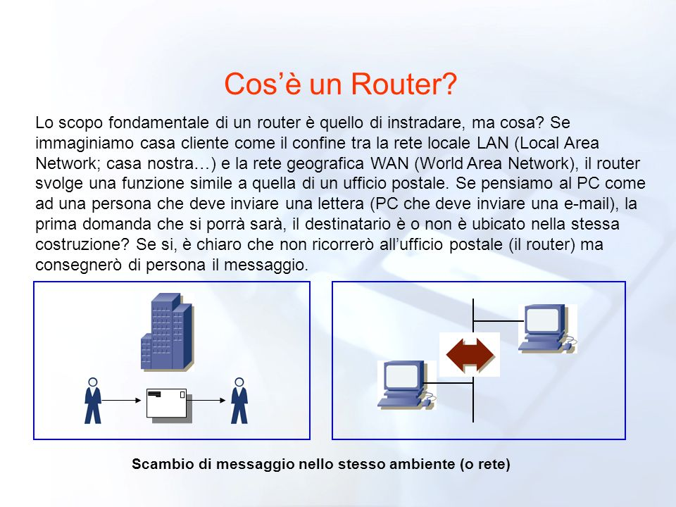 Scambio di messaggio nello stesso ambiente (o rete)