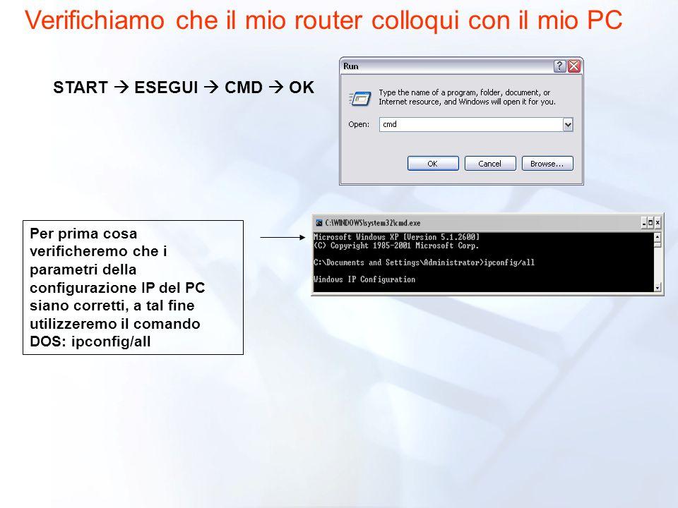 Verifichiamo che il mio router colloqui con il mio PC