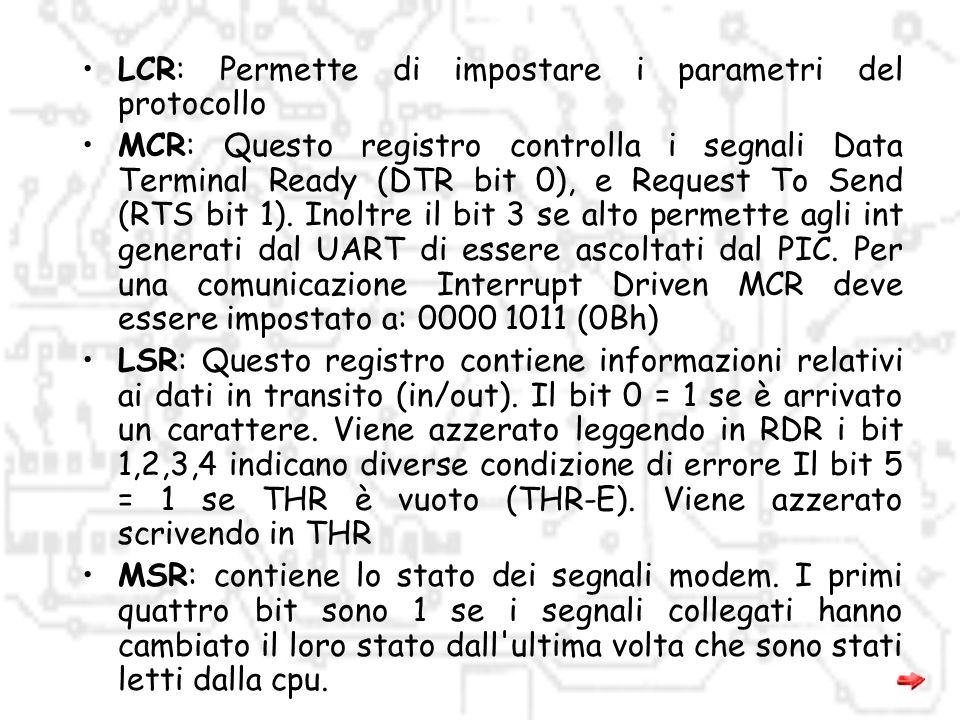 LCR: Permette di impostare i parametri del protocollo
