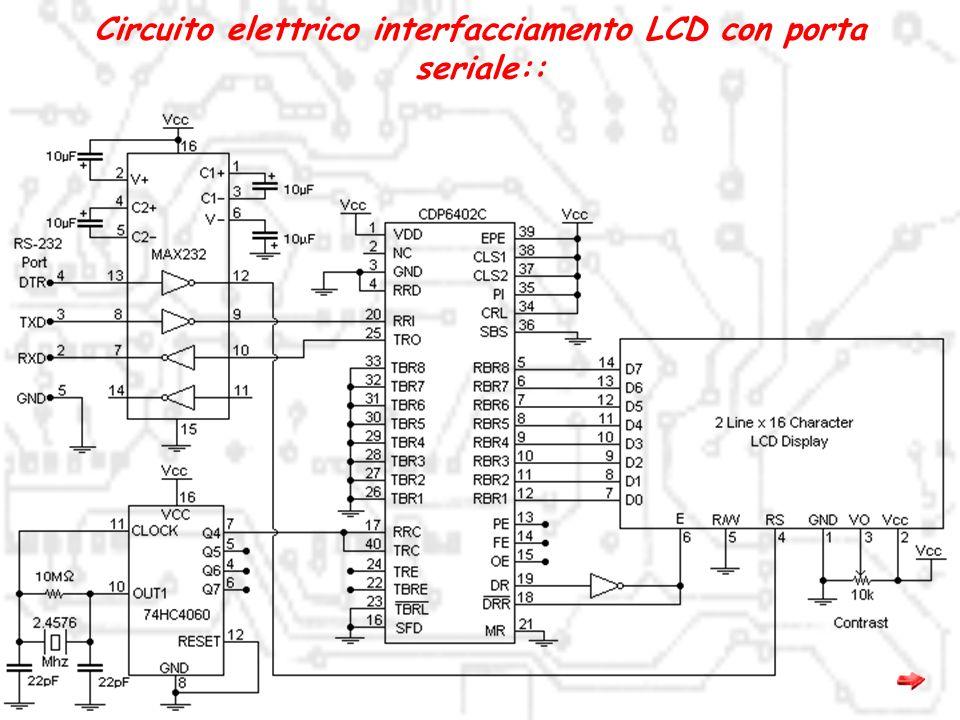 Circuito elettrico interfacciamento LCD con porta seriale::