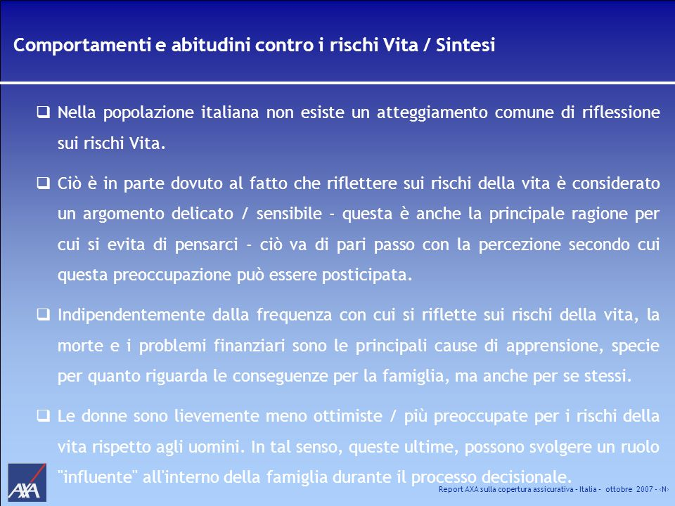 Comportamenti e abitudini contro i rischi Vita / Sintesi