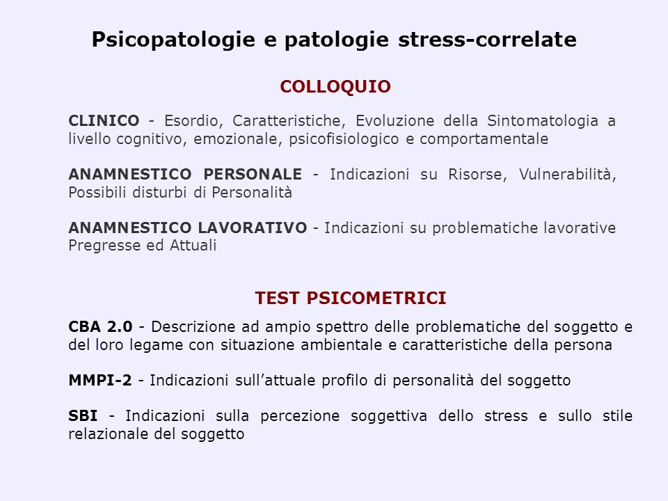 Psicopatologie e patologie stress-correlate