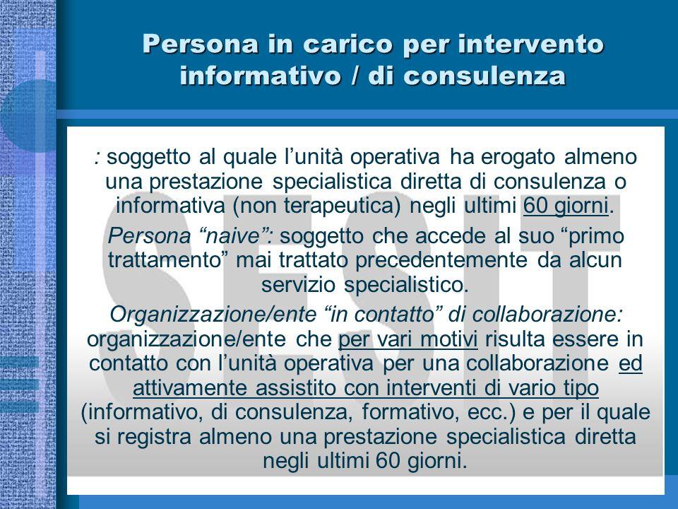 Persona in carico per intervento informativo / di consulenza
