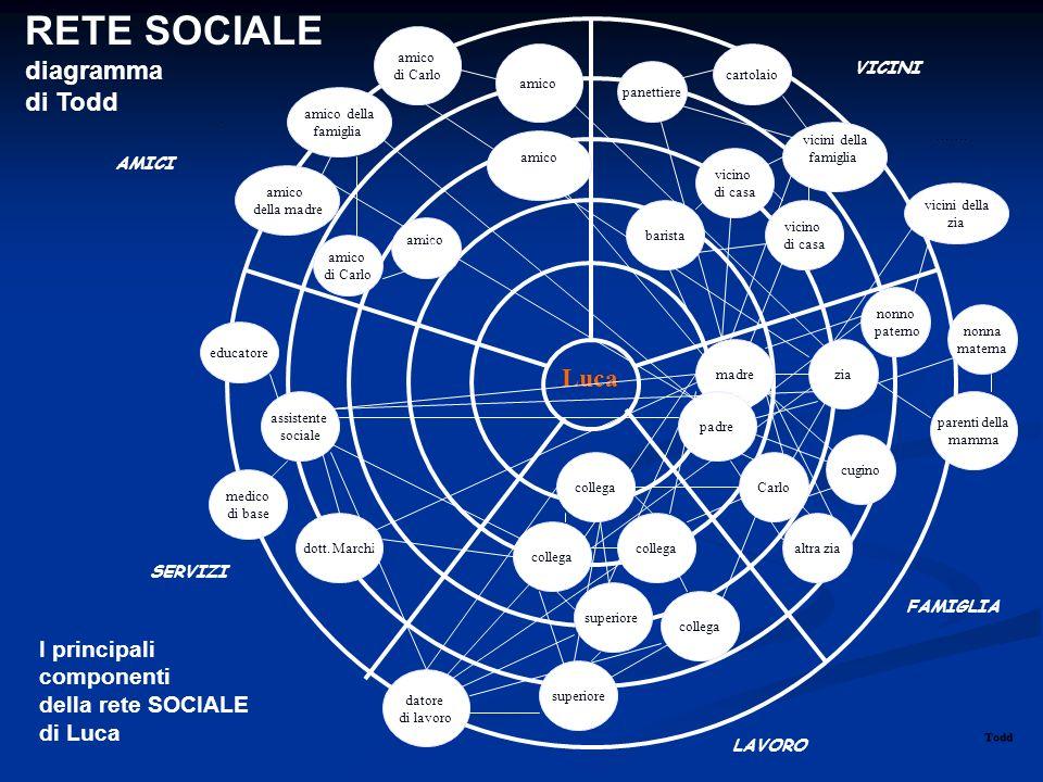 RETE SOCIALE diagramma di Todd Luca I principali componenti