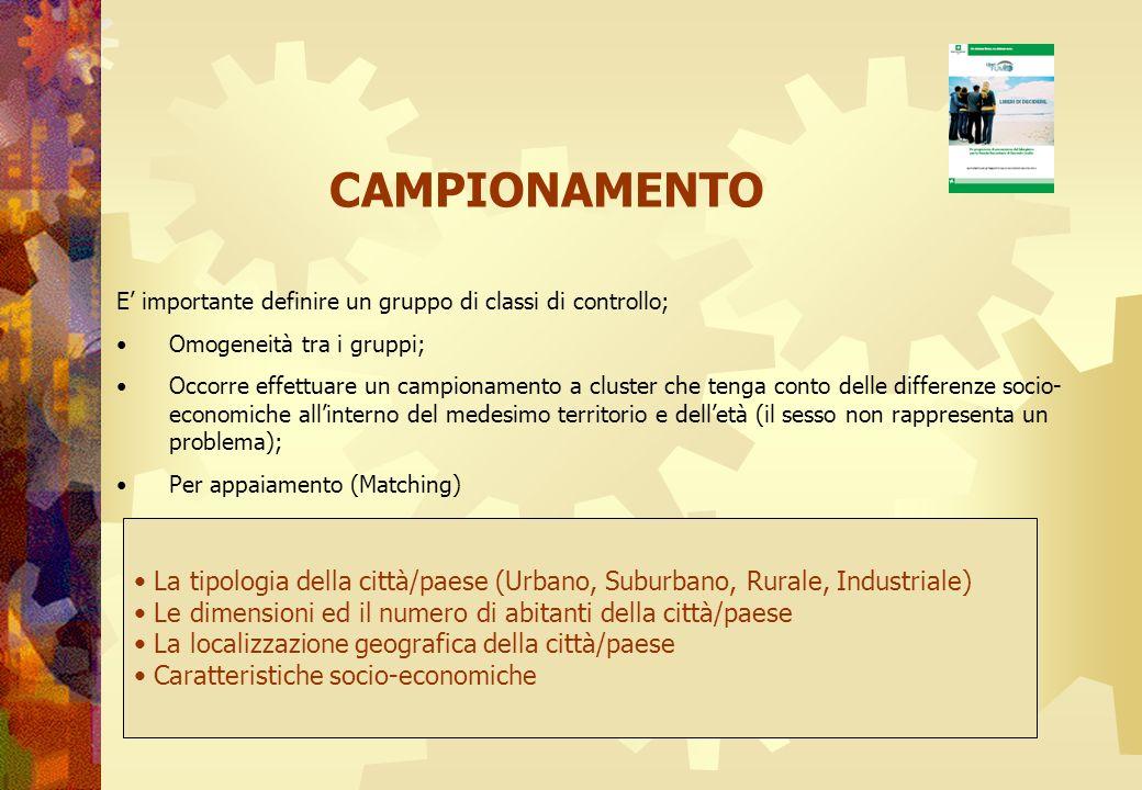 CAMPIONAMENTO E' importante definire un gruppo di classi di controllo; Omogeneità tra i gruppi;