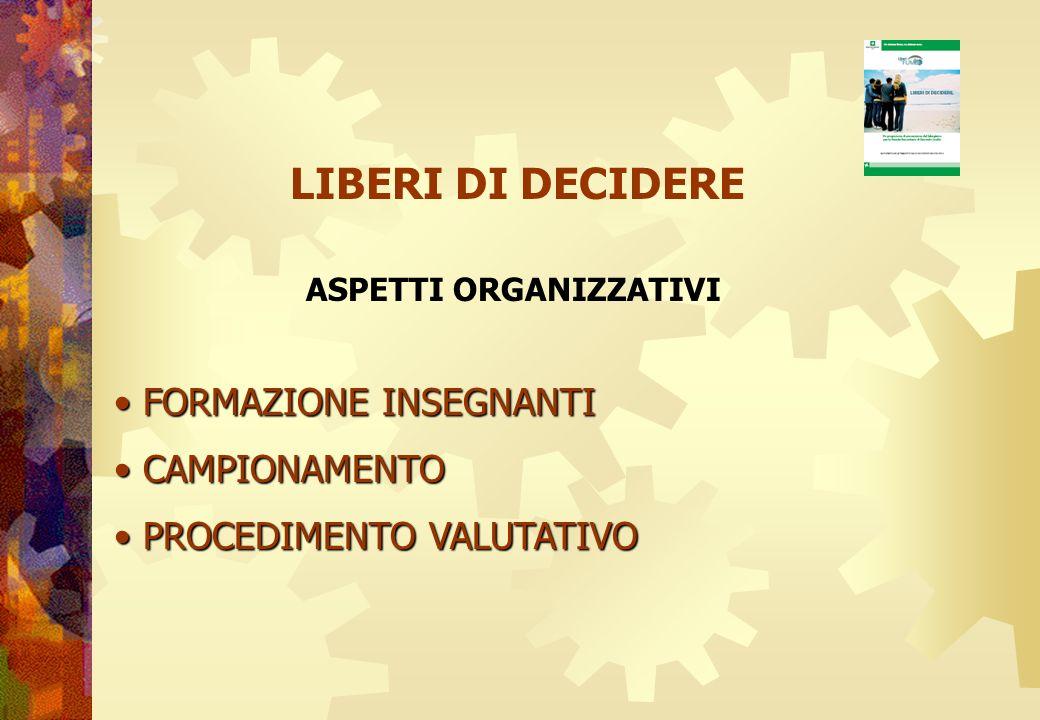 LIBERI DI DECIDERE FORMAZIONE INSEGNANTI CAMPIONAMENTO