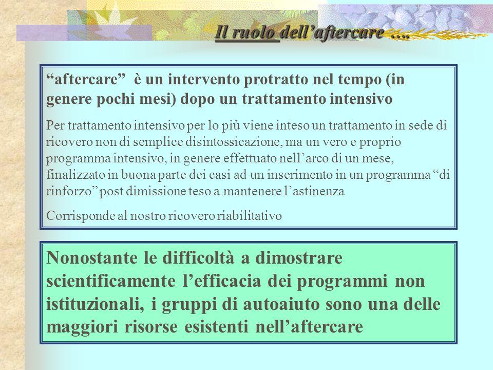 Il ruolo dell'aftercare ….